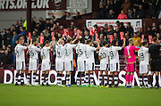 Dundee hold up Show Racism the Red Card placards prior to kick off - Hearts v Dundee, Ladbrokes Scottish Premiership at Tynecastle, Edinburgh. Photo: David Young<br /> <br />  - &copy; David Young - www.davidyoungphoto.co.uk - email: davidyoungphoto@gmail.com