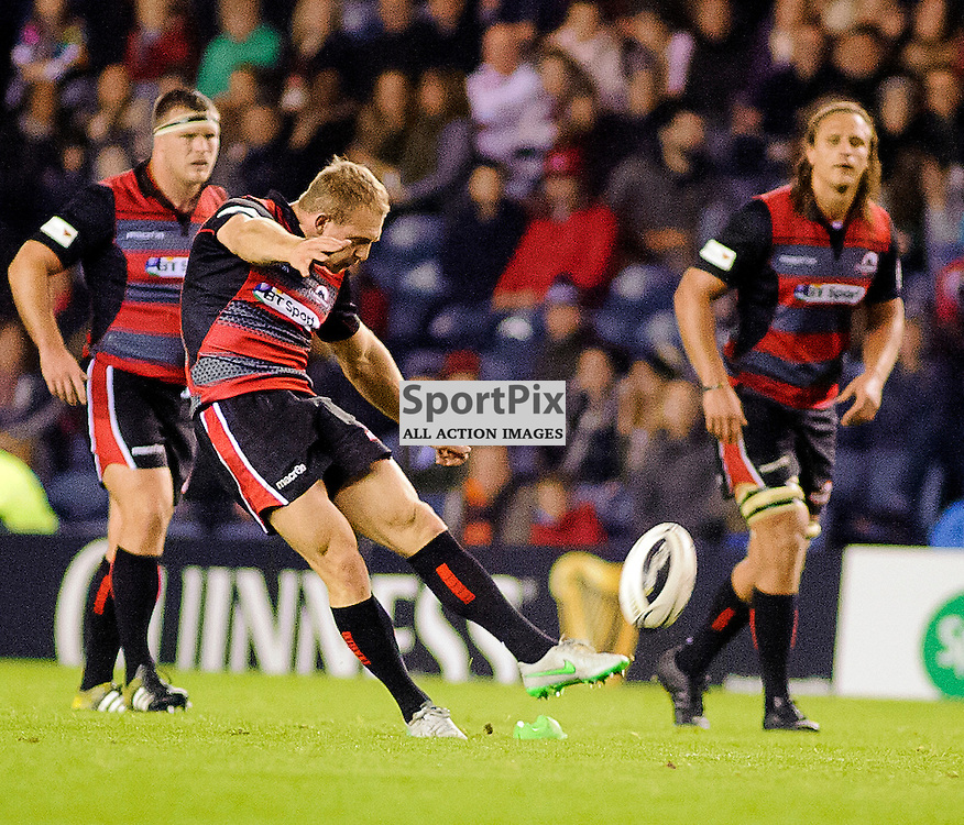16/10/2015, Murrayfield, Scotland, Greig Tonks converts Hamish Watson's try during the Edinburgh Rugby v Ulster Guinness PRO12 game, ......(c) COLIN LUNN | SportPix.org.uk