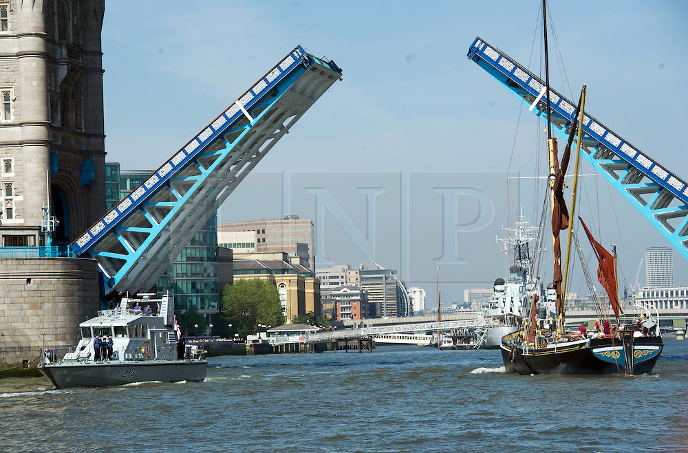 © Licensed to London News Pictures. 30/05/2012 London, UK. HMS Ranger arrives in London ahead of the Queen's  Jubilee celebrations.  The Royal Navy inshore patrol vessel will form part of the flotilla  for the Diamond Jubilee Pageant. Photo credit : Simon Jacobs/LNP