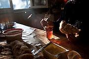 Chai (tea) and bread for breakfast. Duisi, Republic of Georgia.
