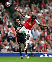 Photo: Tom Dulat/Sportsbeat Images.<br /> <br /> Arsenal v Manchester United. The FA Barclays Premiership. 03/11/2007.<br /> <br /> Emmanuel Adebayor of Arsenal and Rio Ferdinand of Manchester United with the ball.