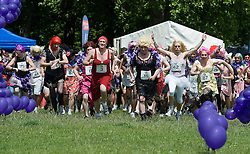 © licensed to London News Pictures. 18/06/2011. London, UK.   Hundreds of men dressed as women take part in The Great Drag Race at Highbury Fields, North London today (18/06/2011). The 10k run is held to raise money for charity and increase the public's awareness of prostate cancer. Photo credit should read Ben Cawthra/LNP