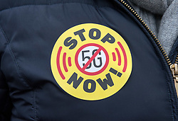 © Licensed to London News Pictures. 25/01/2020. Bristol, UK. A protest against 5G technology outside Bristol City Hall, part of a 5G Global Protest Day against the rollout of 5G mobile technology. The Bristol Residents Against 5G Technology campaign say the high frequency pulsed millimetre-wave radiation will harm wildlife, bees and birds in particular. The campaign says 5G has not been tested for public safety and that hundreds of doctors and scientists are calling for the 5G rollout to be halted over concerns about damage to human health, especially children, and that medical insurance does not cover illness from exposure to mobile phone radiation. They say that Brussels and other cities in Europe and the US have already blocked the rollout of 5G because of concerns over public health. Photo credit: Simon Chapman/LNP.