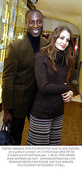 Fashion designer OZWALD BOATENG and his wife GUNNEL, at a party in London on 31st October 2002.	PET 50