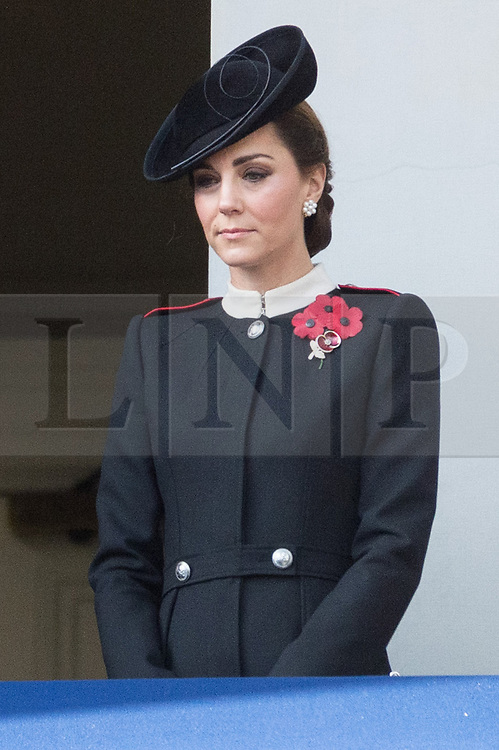© Licensed to London News Pictures. 11/11/2018. London, UK. The Duchess of Cambridge attends a Remembrance Day Ceremony at the Cenotaph war memorial in London, United Kingdom, on November 11, 2018.  Thousands of people honour the war dead by gathering at the iconic memorial to lay wreaths and observe two minutes silence and marks the 100th anniversary of Armistice Day. Photo credit: Ray Tang/LNP