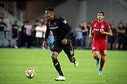 LAFC midfielder Mark-Anthony Kaye (14) in action during an MLS soccer game between the LAFC and the Toronto FC. LAFC and Toronto FC tied 1-1 on Saturday, Sept 21, 2019, in Los Angeles. (Ed Ruvalcaba/Image of Sport)