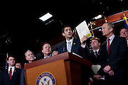 """House Budget Chairman PAUL RYAN (R-WI), (center) holds a news conference with House Republicans to unveil their FY2012 budget resolution they are calling """"Path to Prosperity.'"""