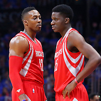 14 May 2015: Houston Rockets center Dwight Howard (12) talks to Houston Rockets center Clint Capela (15) during the Houston Rockets 119-107 victory over the Los Angeles Clippers, in game 6 of the Western Conference semifinals, at the Staples Center, Los Angeles, California, USA.