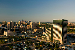 Aerial view of the Texas Medical Center - MD Anderson Cancer Center, Mid Campus Building with skyline of downtown Houston, Texas on the horizon.