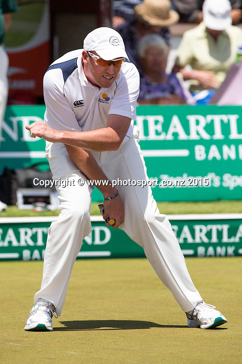 Onehunga`s Richard Girvan reacts to his bowl in the men`s pairs final at the National Open Bowls Championship 2014, Browns Bay Auckland, New Zealand, Sunday, January 04, 2015. Photo: David Rowland/www.photosport.co.nz