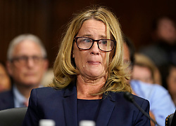 September 27, 2018 - Washington, District of Columbia, U.S. - Dr. CHRISTINE BLASEY FORD testifies before the Senate Judiciary Committee on Capitol Hill. (Credit Image: © Andrew Harnik/Pool via ZUMA Wire)