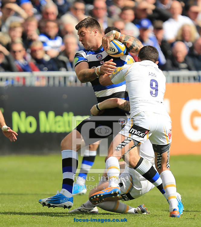 Matt Banahan of Bath Rugby on the charge during the Aviva Premiership match at the Recreation Ground, Bath<br /> Picture by Michael Whitefoot/Focus Images Ltd 07969 898192<br /> 19/04/2014