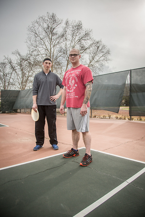 """I want to own my own restaurant someday...yes, we have talked about working together toward that goal""  -Second year Institute of America culinary student Sam Hamlin with fellow student Jason Smith after playing frizbee at the Calistoga tennis courts."