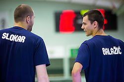 Uros Slokar and Jure Balazic of Slovenia during warming up prior to the friendly basketball match between National teams of Slovenia and Australia, on August 3, 2015 in Arena Tri lilije, Lasko, Slovenia. Photo by Vid Ponikvar / Sportida