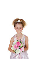 Portrait of beautiful bridesmaid holding flower bouquet over white background
