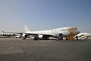 Israel, Ben-Gurion international Airport Maintenance working on an El Al Boeing 747 Cargo plane