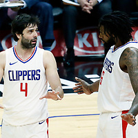 26 December 2017: LA Clippers guard Milos Teodosic (4) is seen next to LA Clippers center DeAndre Jordan (6) during the LA Clippers 122-95 victory over the Sacramento Kings, at the Staples Center, Los Angeles, California, USA.