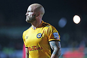 Newport  David Pipe (2) leaving the pitch at half time during the The FA Cup 4th round match between Newport County and Tottenham Hotspur at Rodney Parade, Newport, Wales on 27 January 2018. Photo by Gary Learmonth.