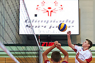 Volleyball match between SO Poland and SO Germany during of The Special Olympics Unified Volleyball Tournament at Ursynow Arena in Warsaw on August 27, 2014.<br /> <br /> Poland, Warsaw, August 27, 2014<br /> <br /> For editorial use only. Any commercial or promotional use requires permission.<br /> <br /> Mandatory credit:<br /> Photo by © Adam Nurkiewicz / Mediasport