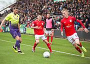 Crewe Alexandra midfielder Charlie Kirk about to cross the ball during the EFL Sky Bet League 2 match between Crewe Alexandra and Exeter City at Alexandra Stadium, Crewe, England on 5 October 2019.
