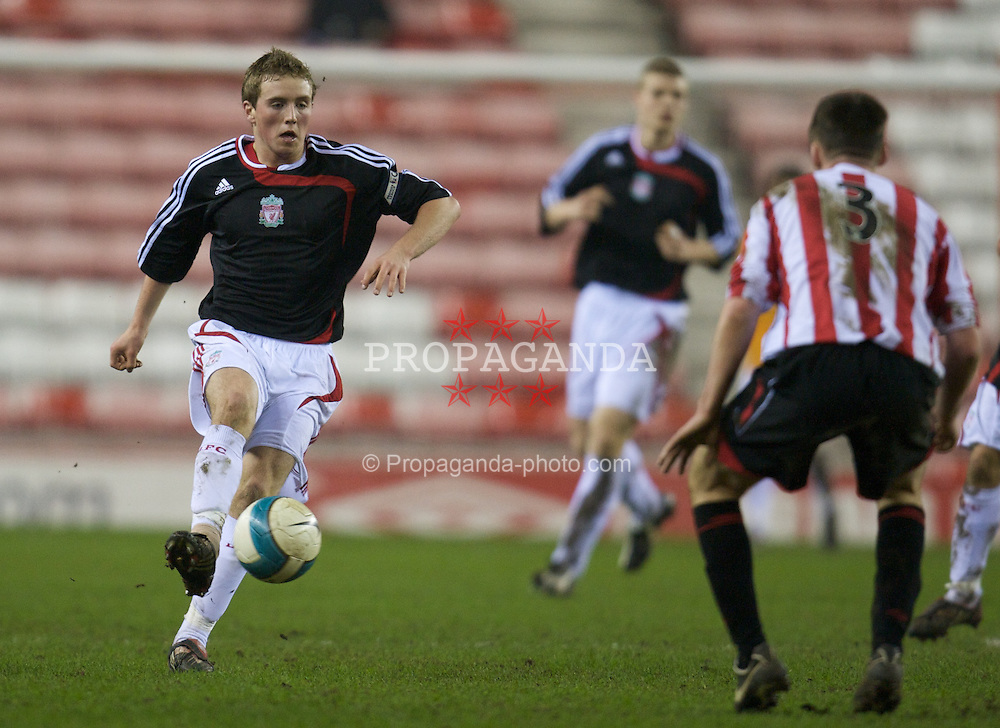 SUNDERLAND, ENGLAND - Wednesday, February 13, 2008: Liverpool's Steven Irwin in action against Sunderland during the FA Youth Cup 5th Round match at the Stadium of Light. (Photo by David Rawcliffe/Propaganda)