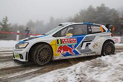 16.01.2014, Shakedownstrecke, Gap, FRA, FIA, WRC, Rallye Monte Carlo, 1.Tag, SS Laborel 1, im Bild MIKKELSEN Andreas / MARKKULA Mikko ( VOLKSWAGEN MOTORSPORT II (DEU) / VOLKSWAGEN POLO R ) verliert viel Zeit im Schneematch, Aktion / Action // during the Shakedown on day one of FIA Rallye Monte Carlo held near Monte Carlo, France on 2014/01/16. EXPA Pictures © 2014, PhotoCredit: EXPA/ Eibner-Pressefoto/ Neis<br /> <br /> *****ATTENTION - OUT of GER*****