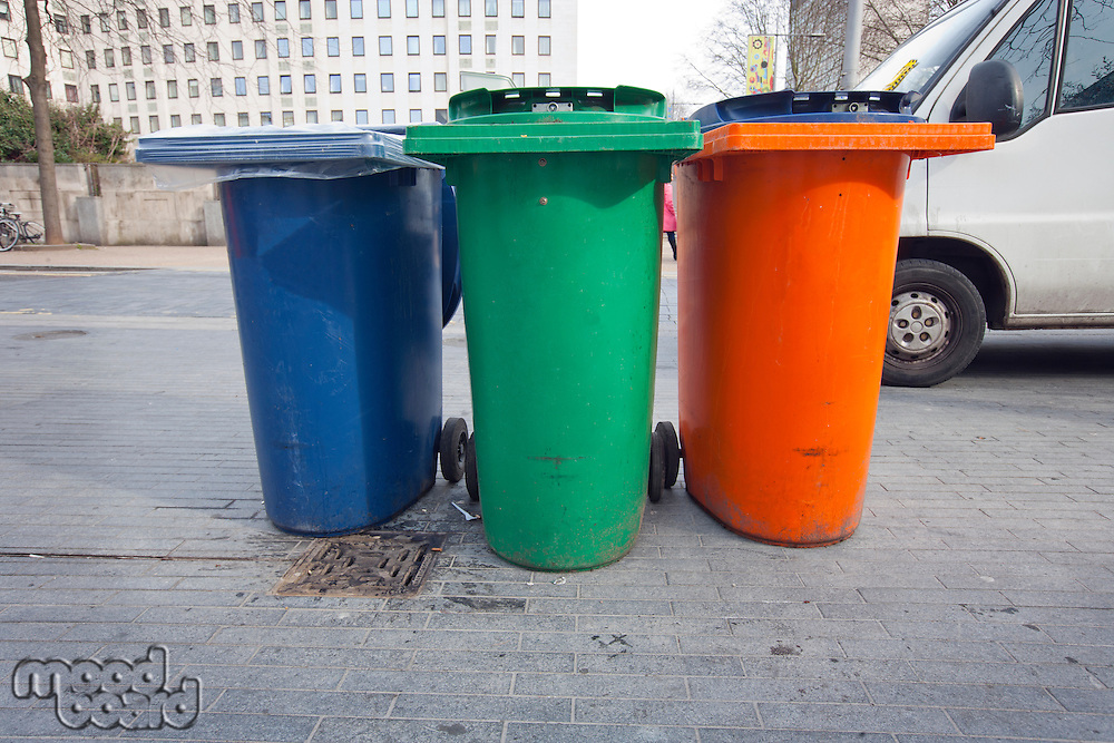3 Recycling Bins in the street