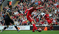 Photo: Paul Thomas.<br /> Liverpool v West Ham United. The Barclays Premiership. 26/08/2006.<br /> <br /> Peter Crouch scores for Liverpool.