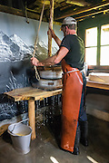Don't miss Eigeralp farm's traditional breakfast (or a longer farm stay), at Bussalp, above Grindelwald, in the canton of Bern, Switzerland, the Alps, Europe. Every day, immediately in front of you, Eigeralp farm produces a variety of artisan cheeses and Alpine butter from raw milk in a large cauldron over an open fire. For breakfast, enjoy fresh bread from the oven, Alpine butter, various cheeses, yogurt, homemade jams, coffee, tea and fresh milk! While Eigeralp's huts were built in 1892, its traditional cheese hut dates from the 1600s. While grazing, gaze out over the peaks of the Eiger, Mönch, and Jungfrau in these astoundingly spectacular high meadows. The farm, on the internet at www.Eigeralp.ch, can be reached as follows: ride the private GrindelwaldBus.ch to the last stop in Bussalp, then ascend 40 minutes on foot. The Swiss Alps Jungfrau-Aletsch region is honored as a UNESCO World Heritage Site.
