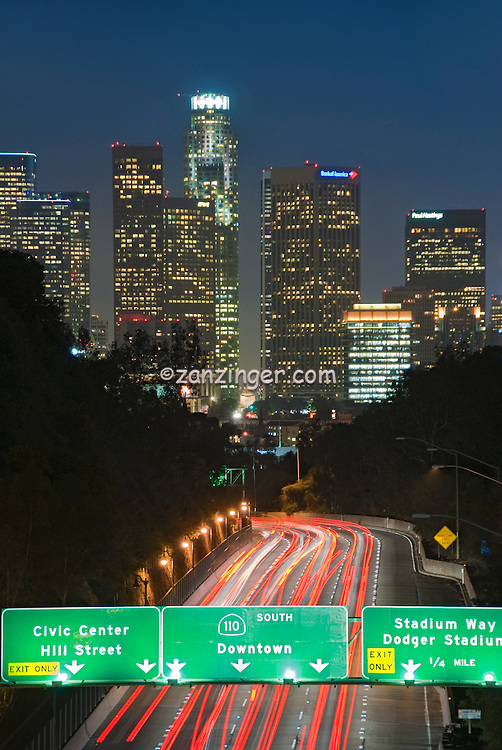 CA 110 Pasadena Freeway, Downtown Los Angeles, Night, Car Lights Streaking ,Interstate 110 and State Route 110