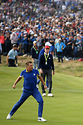 Ian Poulter (Eng) reacts after defeating Dustin Johnson (Usa) during the sunday singles session of Ryder Cup 2018, at Golf National in Saint-Quentin-en-Yvelines, France, September 30, 2018 - Photo Philippe Millereau / KMSP / ProSportsImages / DPPI