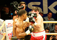 Picture by Alan Stanford/Focus Images Ltd +44 7915 056117<br /> 14/11/2013<br /> Anthony Joshua lands a left jab on Hrvoje Kisicek  during their heavyweight contest at York Hall, Bethnal Green.