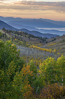 Looking down the canyon along the Nebo Loop towards Utah Lake during Fall at sunset.