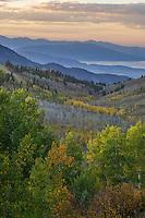 Looking down the canyon along the Nebo Loop towards Utah Lake during Fall at sunset.