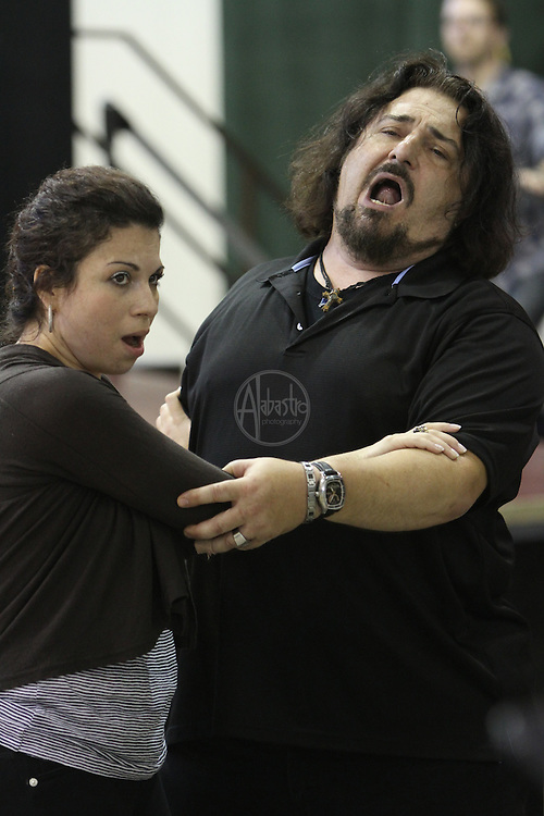 Turandot Staging #1, Seattle Opera, July 11, 2012. Antonello Palombi (Calaf) and Lina Tetriani (Liù).