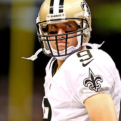 August 17, 2012; New Orleans, LA, USA; New Orleans Saints quarterback Drew Brees (9) against the Jacksonville Jaguars during the first half of a preseason game at the Mercedes-Benz Superdome. Mandatory Credit: Derick E. Hingle-US PRESSWIRE