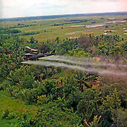 A UH-1D helicopter from the 336th Aviation Company sprays a defoliation agent on a dense jungle area in the Mekong Delta, 26 July 1969.