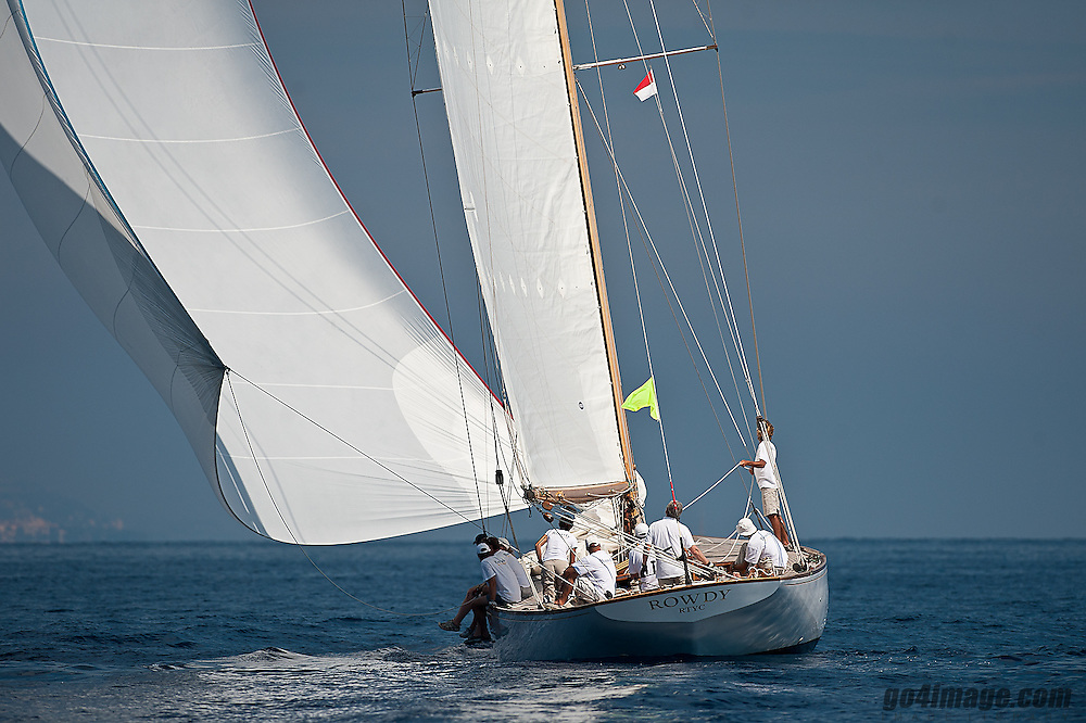 "September 2011 Monaco Classic Week Mariquita   Rowdy the NY40 Class boat..Class: New York 40.Designer(s): Nathanael Greene Herreshoff.Type of Boat: NY40 Bermudan Cutter.Year Built: 1916.LOA m / ft: 19.8m   /   65'.LOD m / ft: 17.98m   /   59'.LWL m / ft: 12.2m   /   40'.Beam m / ft: 4.35m   /   14'3"".Draft m / ft: 2.4m   /   8'.Sail Stats: Sail No: NY45"