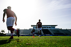 Nathan Baker of Bristol City warms up during the 2nd leg of the match after the previous day's game was abandoned at half time due to extreme weather - Rogan/JMP - 14/07/2019 - IMG Academy, Bradenton - Florida, USA - Bristol City v Derby County - Pre-Season Tour Day 3.