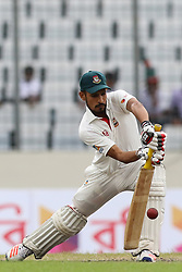 August 29, 2017 - Mirpur, Dhaka, Bangladesh - Bangladeshi cricketer Nasir Hossain plays a shot during the third day of the first Test cricket match between Bangladesh and Australia at the Sher-e-Bangla National Cricket Stadium in Dhaka on August 29, 2017. (Credit Image: © Ahmed Salahuddin/NurPhoto via ZUMA Press)