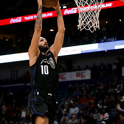 Feb 12, 2019; New Orleans, LA, USA; Orlando Magic guard Evan Fournier (10) dunks against the New Orleans Pelicans during the first quarter at the Smoothie King Center. Mandatory Credit: Derick E. Hingle-USA TODAY Sports