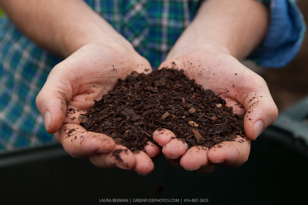 A heart-shaped handful of rich, dark, organic compost held in front of the gardener's blue plaid shirt.