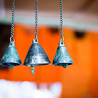 Bhutanese bells at a market in Thimpu <br />