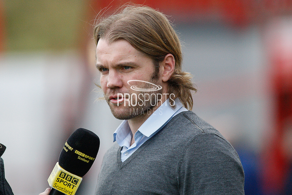 Hearts FC Manager Robbie Neilson being interviewed before the Ladbrokes Scottish Premiership match between Hamilton Academical FC and Heart of Midlothian at New Douglas Park, Hamilton, Scotland on 24 January 2016. Photo by Craig McAllister.