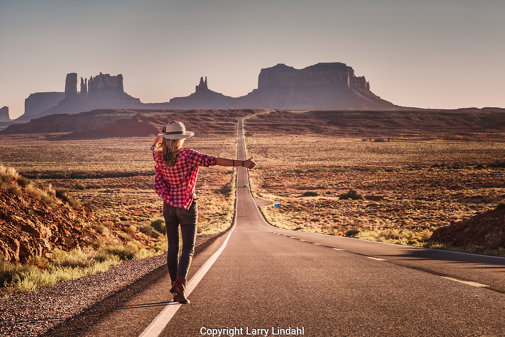 Holly Kert, hitchhiking, Highway US 163, Forrest Gump Point, San Juan County, Utah