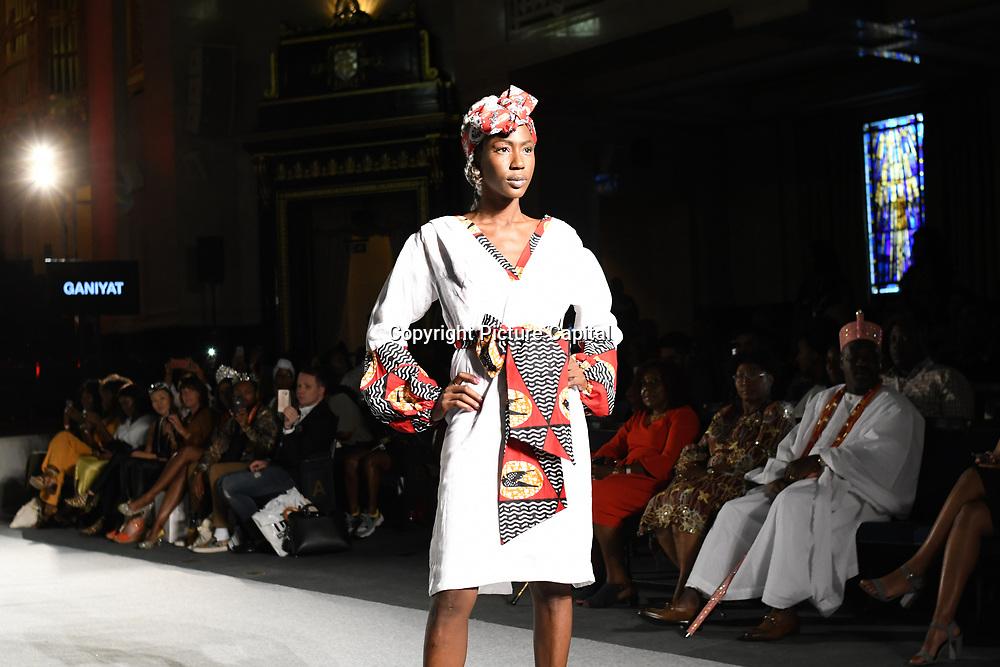 Designer Ganiyat showcases its latest collection at the Africa Fashion Week London (AFWL) at Freemasons' Hall on 11 August 2018, London, UK.