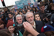 Westminster Bridge, London, UK. 26th April 2016. Jeremy Corbyn and John McDonnell join hundreds of striking junior doctors march from St Thomas's hospital to Richmond House, headquarters of the Department of Health, in Whitehall.  The demonstration was backed by the National Union of Teachers to show support for the junior doctors in their ongoing protest against the government's plans to force through changes to their pay and conditions. Pictured:  The march crosses Westminster Bridge. // Lee Thomas, Flat 47a Park East Building, Bow Quarter, London, E3 2UT. Tel. 07784142973. Email: leepthomas@gmail.com. www.leept.co.uk (0000635435)