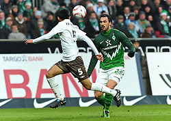 28.11.2010, Weserstadion, Bremen, GER, 1. FBL, Werder Bremen vs FC St. Pauli, im Bild Carlos Zambrano (St. Pauli #5, links), Hugo Almeida (Bremen #23, rechts)   EXPA Pictures © 2010, PhotoCredit: EXPA/ nph/  Frisch       ****** out ouf GER ******