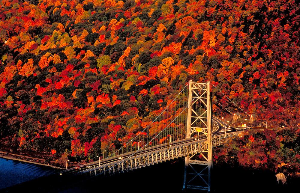 Bear Mountain Bridge across the Hudson, with fall colors, New York