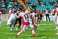 KELOWNA, CANADA - SEPTEMBER 16: Quarterback Jake Laberge #12 of the Vancouver Island Raiders throws a pass against the Okanagan Sun on September 16, 2018, at the Apple Bowl, in Kelowna, British Columbia, Canada.  (Photo by Marissa Baecker/Shoot the Breeze)  *** Local Caption ***